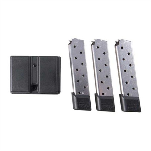 1911 10-Round SS Power Plus Magazine, 3 Pack w/Dbl Mag Pouch