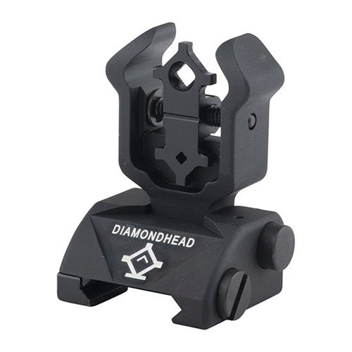 AR-15 Flip-Up Adjustable Diamond Rear Sight Black